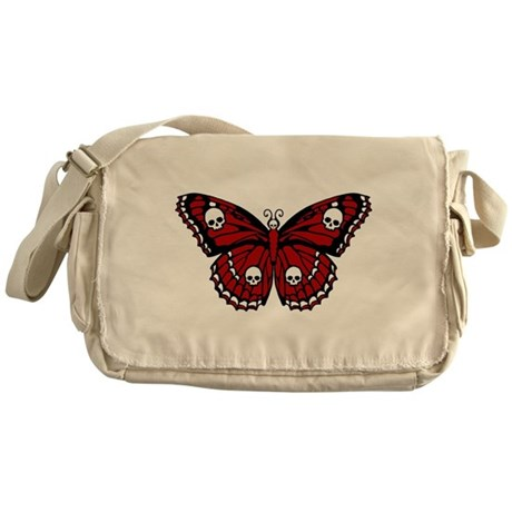 Red Skull Butterfly Messenger Bag