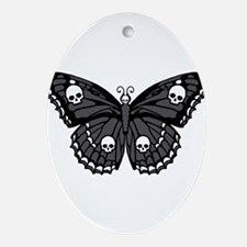 Gothic Skull Butterfly Ornament (Oval)