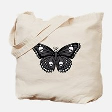 Gothic Skull Butterfly Tote Bag