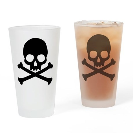 Simple Skull And Crossbones Drinking Glass