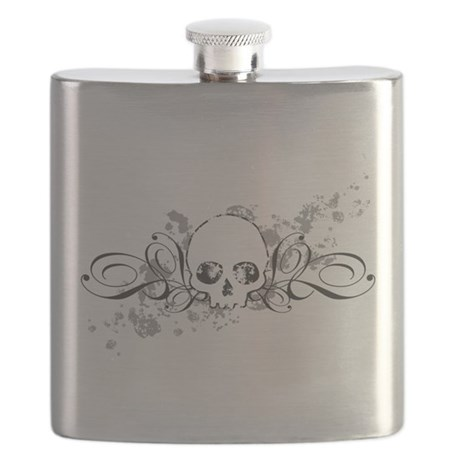 Skull With Splatters And Swirls Flask