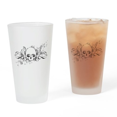 Skull With Splatters And Swirls Drinking Glass
