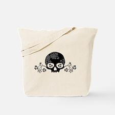 Skull With Flower Motif Tote Bag