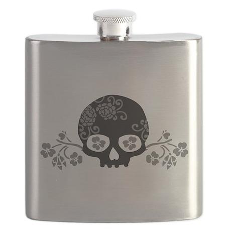 Skull With Flower Motif Flask