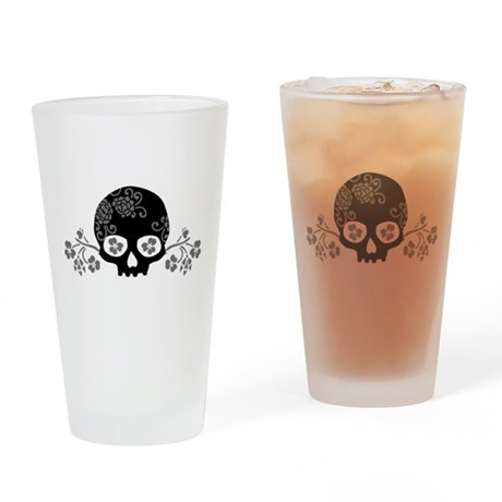 Skull With Flower Motif Drinking Glass