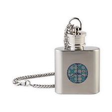 Aqua Peace On Earth Sign Flask Necklace