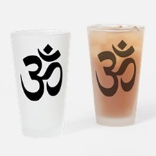Simple Black Om Aum Symbol Drinking Glass