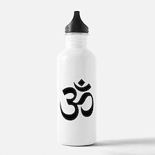 Simple Black Om Aum Symbol Water Bottle