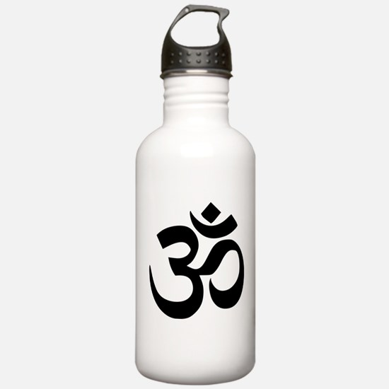 Simple Black Om Aum Symbol Water Bottle