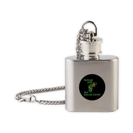 Turn Me Over And Kiss Me Clover Flask Necklace