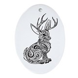 Jackalope animal Oval Ornaments