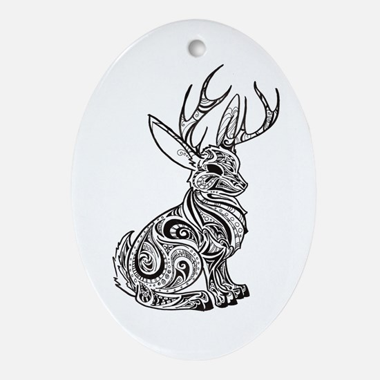 Jackalope Ornament (Oval)