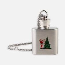 Cancer Awarenss ribbon Christmas Tree Flask Neckla