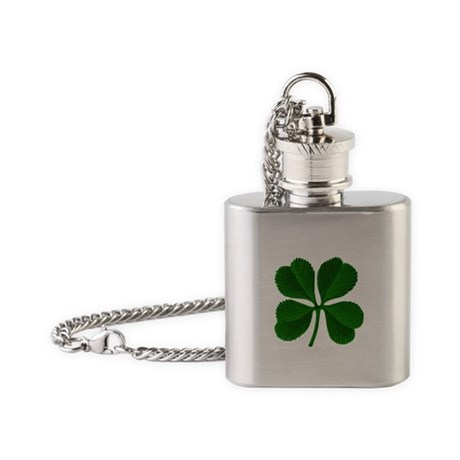 Luck of the Irish Four Leaf Clover Flask Necklace