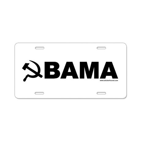 obamarussian_whiteblack.png Aluminum License Plate