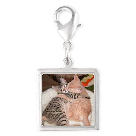 kitty Hug Silver Square Charm