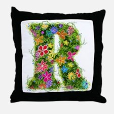 R Floral Throw Pillow