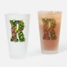 R Floral Drinking Glass