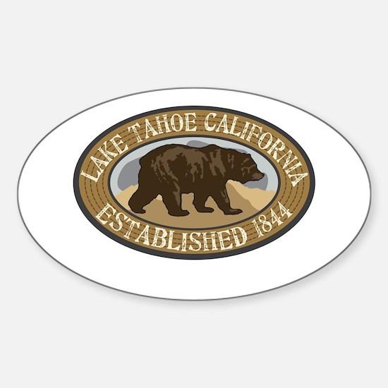 Lake Tahoe Brown Bear Badge Sticker (Oval)