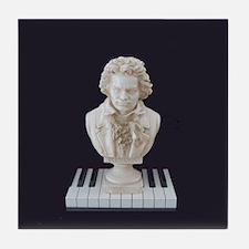 Beethoven Bust on Piano Keys Tile Coaster