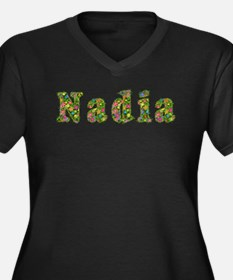 Nadia Floral Women's Plus Size V-Neck Dark T-Shirt
