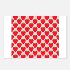 Red Strawberry Pattern. Postcards (Package of 8)