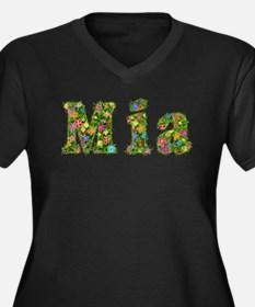 Mia Floral Women's Plus Size V-Neck Dark T-Shirt