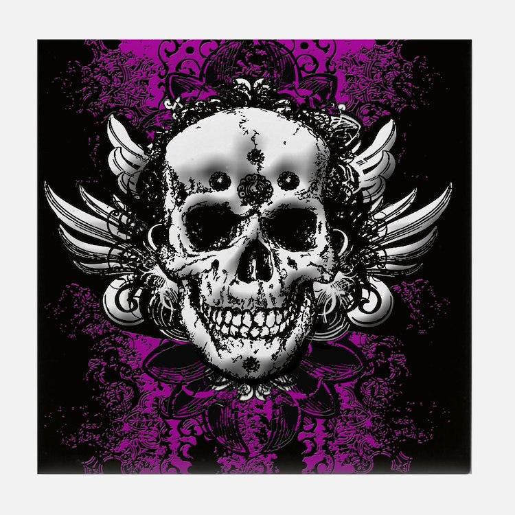 Grunge Skull Tile Coaster
