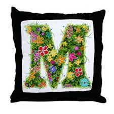 M Floral Throw Pillow