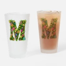 M Floral Drinking Glass