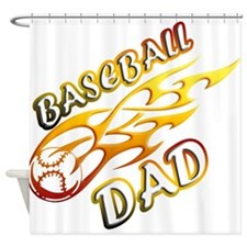 Baseball Dad (flame) copy.png Shower Curtain