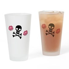 Skulls And Kisses Drinking Glass