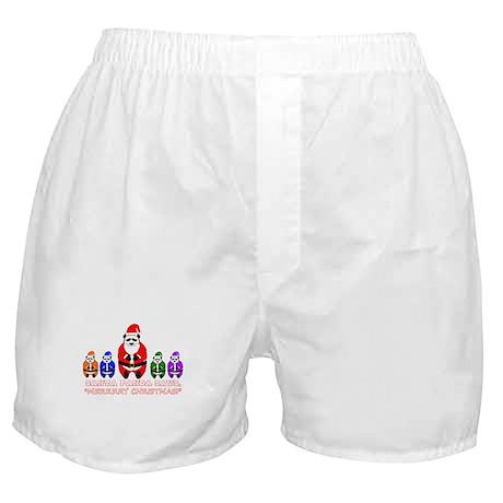 Merry Christmas Santa Panda Boxer Shorts