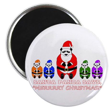 """Merry Christmas Santa Panda 2.25"""" Magnet (100 pack"""