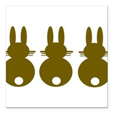 "rabbit Square Car Magnet 3"" x 3"""