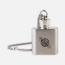 Peace Sign Filigree Art Flask Necklace