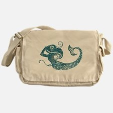 Worn Mermaid Graphic Messenger Bag