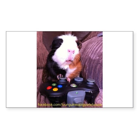 Guinea pig on xbox controller Sticker (Rectangle)