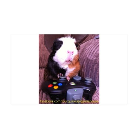 Guinea pig on xbox controller 35x21 Wall Decal