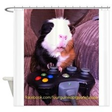 Guinea pig on xbox controller Shower Curtain