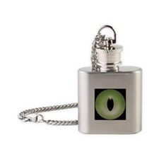 Kitten's Green Eye - Halloween Flask Necklace