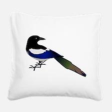 Magpie Bird Square Canvas Pillow