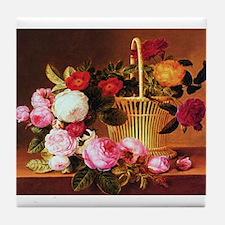 Johan Laurentz Jensen Basket of Roses Tile Coaster
