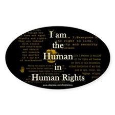 I am Human Rights Oval Decal