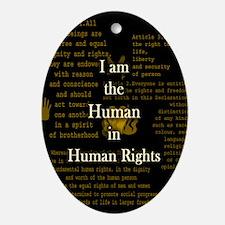 I am Human Rights Oval Ornament