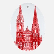 Red Cathedral Graphic Ornament (Oval)