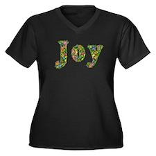 Joy Floral Women's Plus Size V-Neck Dark T-Shirt