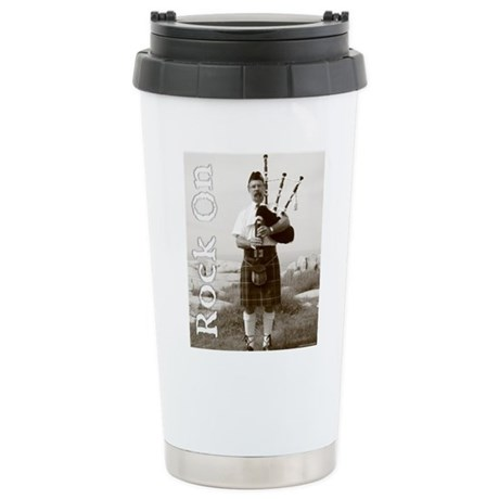 Rock On Bagpipes Stainless Steel Travel Mug