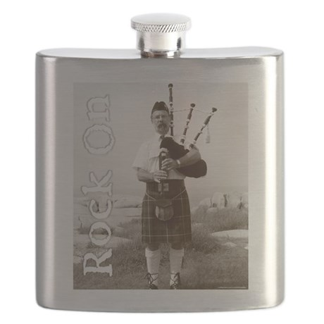 Rock On Bagpipes Flask
