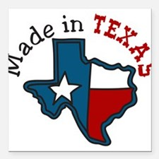 "Made In Texas Square Car Magnet 3"" x 3"""